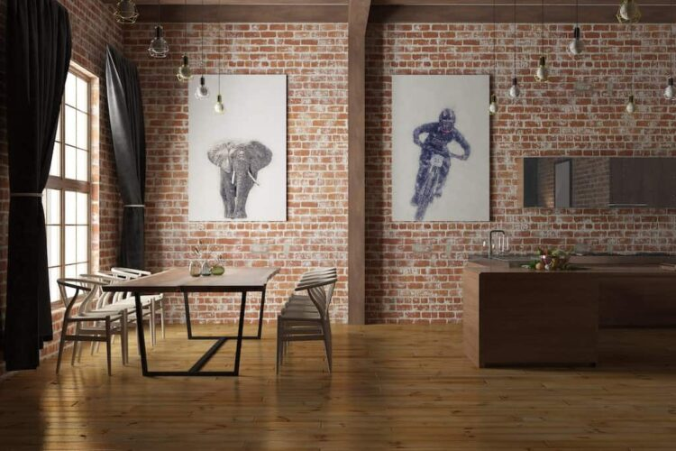 African Elephant poster art wall family room noanahiko