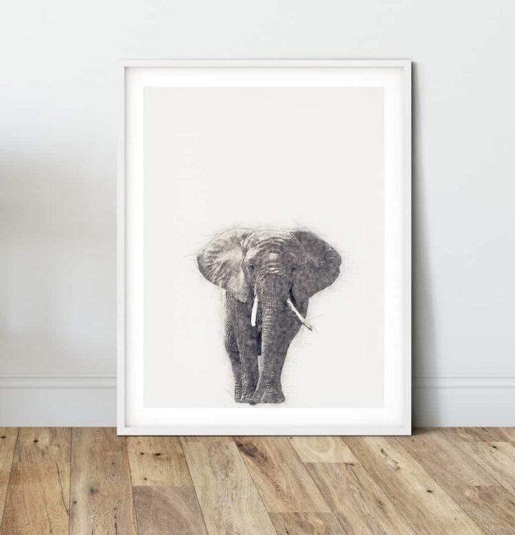 African Elephant poster art wall noanahiko