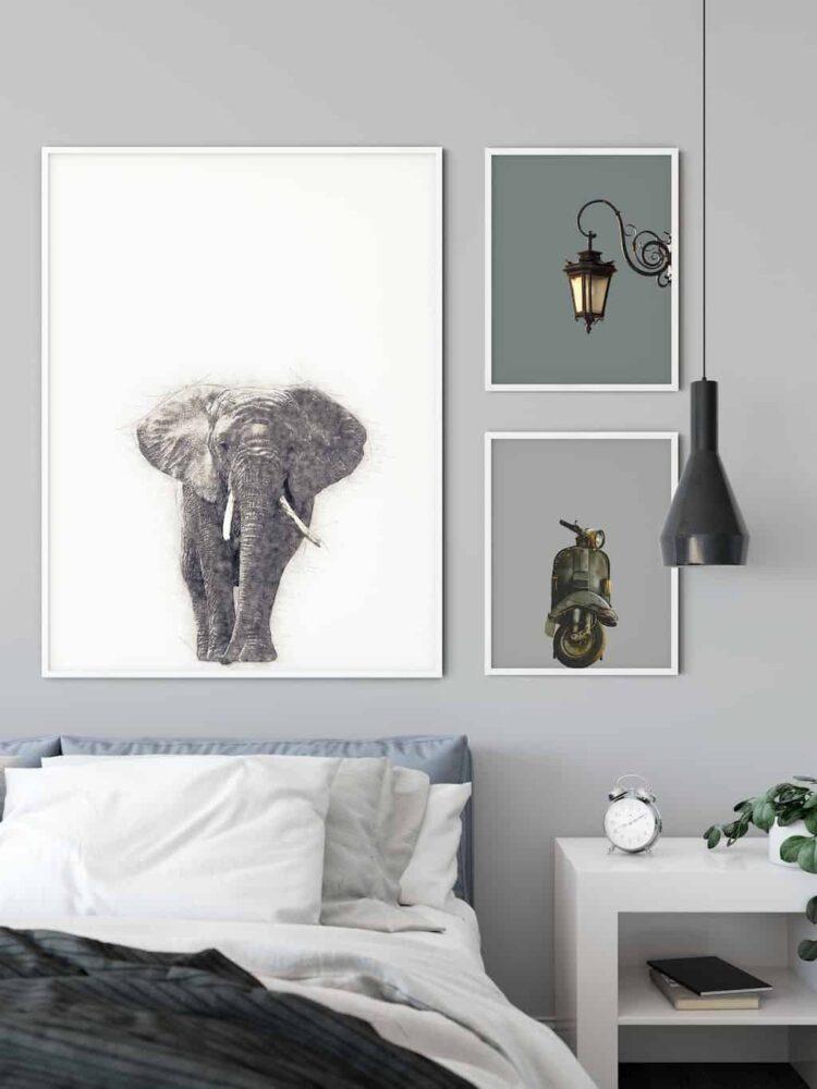 African Elephant poster art wall room noanahiko