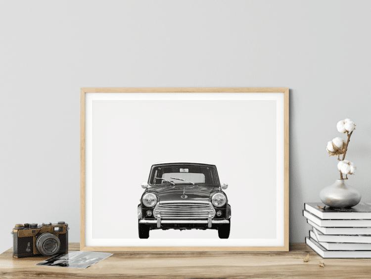 Austin Mini Classic Car Poster Front noanahiko decor photo print
