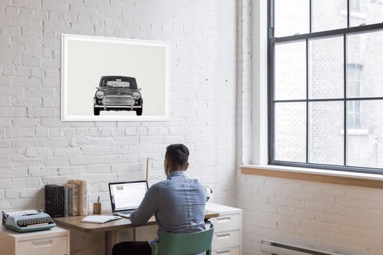 Austin Mini Classic Car Poster Front noanahiko print wall art