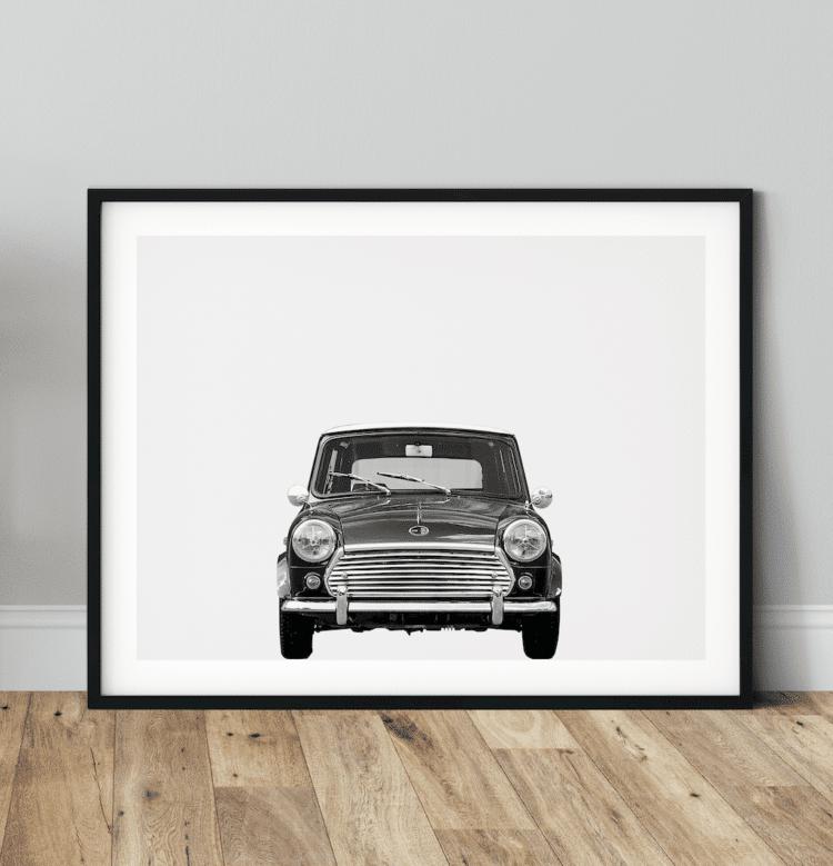 Austin Mini Classic Car Poster Front noanahiko wall art