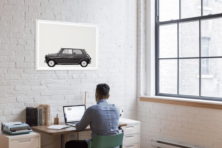 Austin Mini Classic Car Poster lat Noanahiko decor office