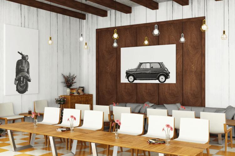 Austin Mini Classic Car Poster lat Noanahiko home decor print