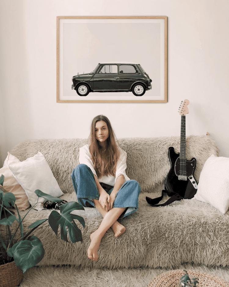 Austin Mini Classic Car Poster lat Noanahiko print art decor