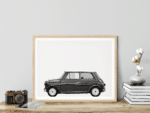 Austin Mini Classic Car Poster lat Noanahiko wall art print decor