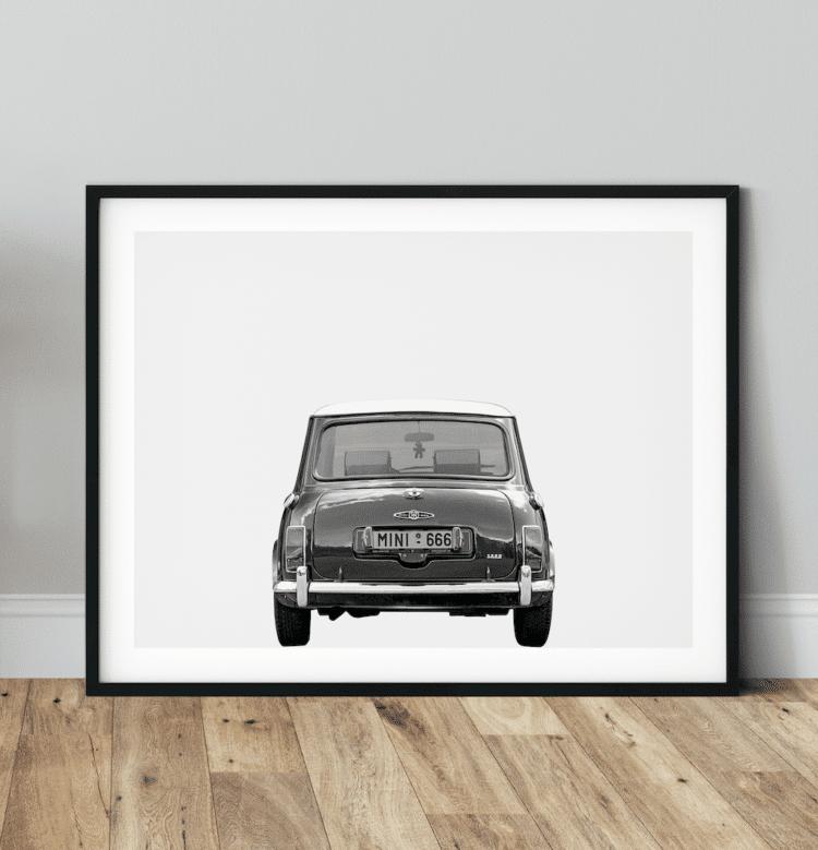 Austin Mini Poster classic car rear art print noanahiko