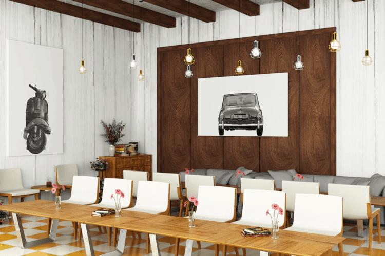 Austin Mini Poster classic car rear art print noanahiko decor
