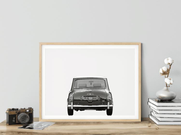 Austin Mini Poster classic car rear art print noanahiko wall art photo