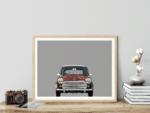 Austin Mini classic car poster art print noanahiko printed