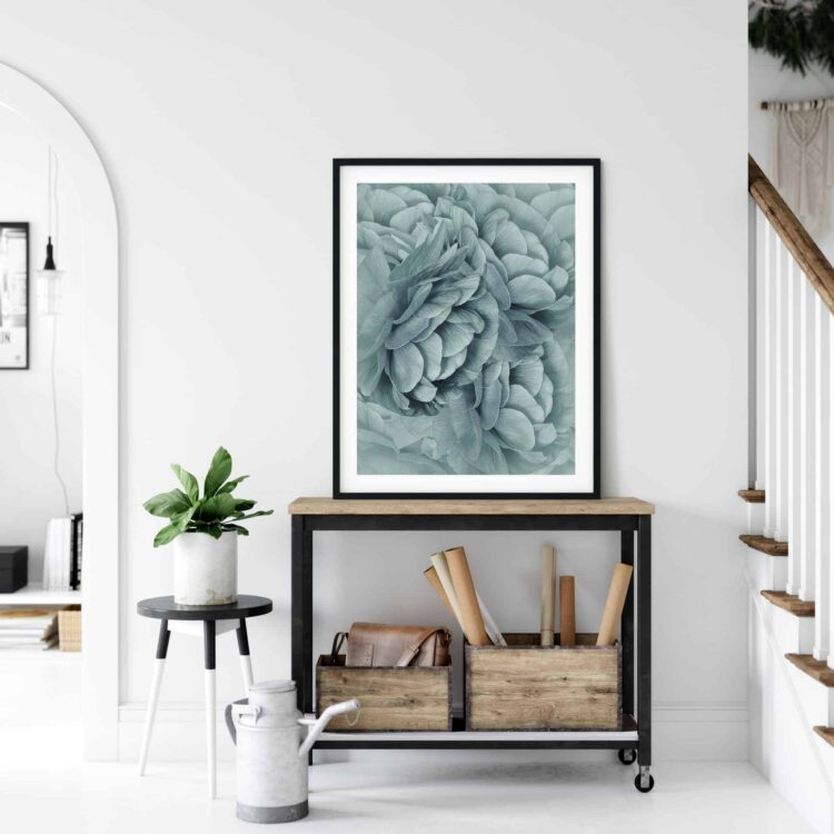 Bouquet of Turquoise Flowers Poster Art print Noanahiko 0088