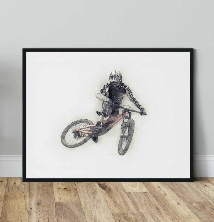 Downhill Mountain Bike Whip Poster noanahiko art print