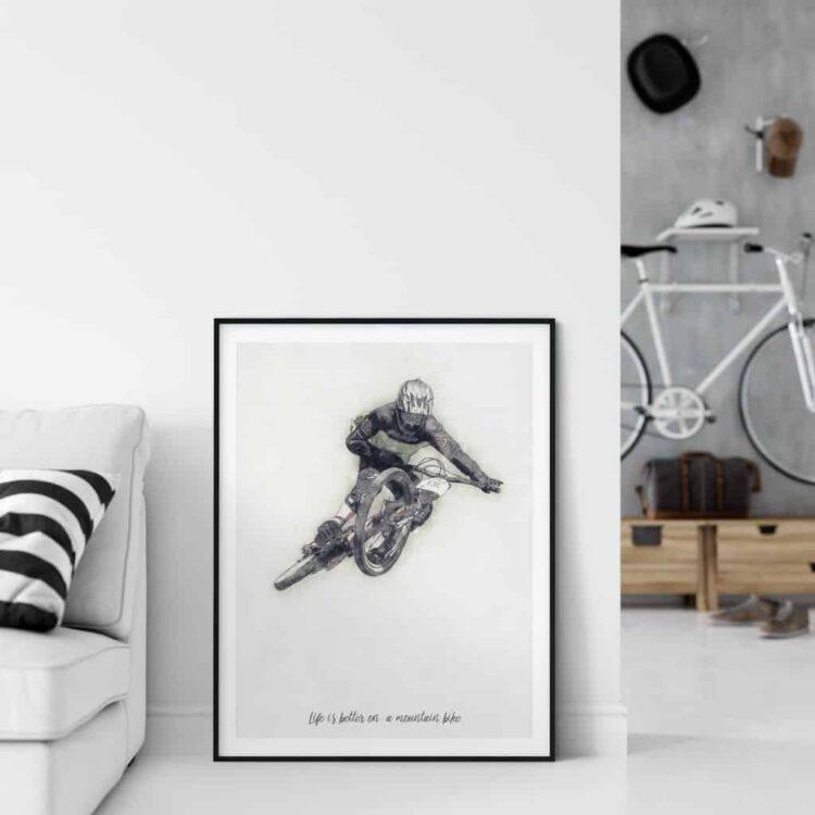 Downhill Mountain Bike cycling poster noanahiko art print decor