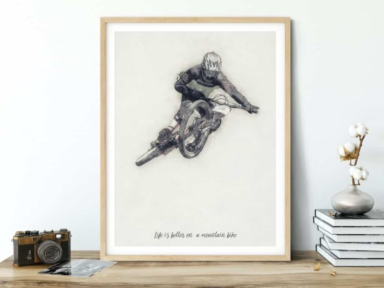 Downhill Mountain Bike cycling poster noanahiko art print download