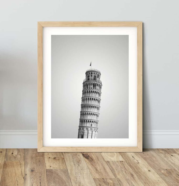Pisa Tower poster wall art noanahiko wood