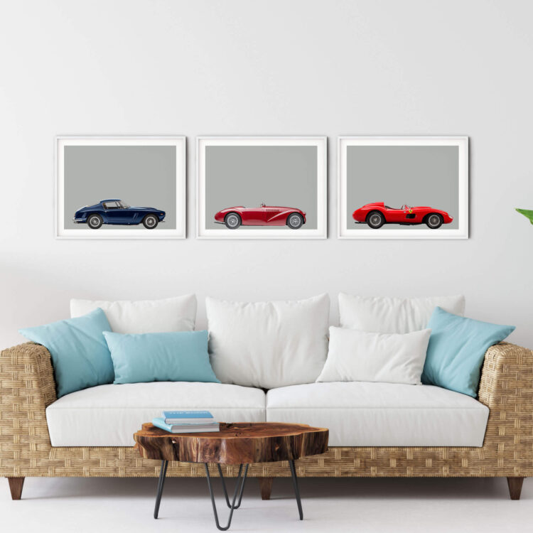 Set of 3 Prints Ferrari Sports Car noanahiko 0162 1