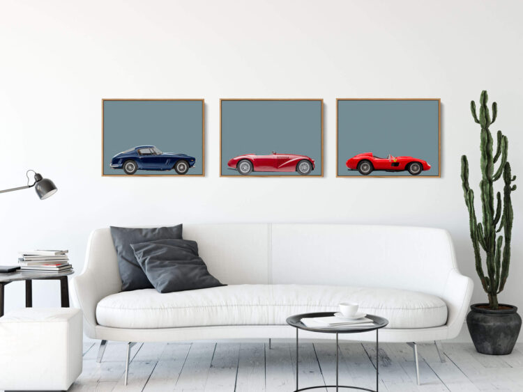 Set of 3 Prints Ferrari Sports Car noanahiko art prints 0162 1