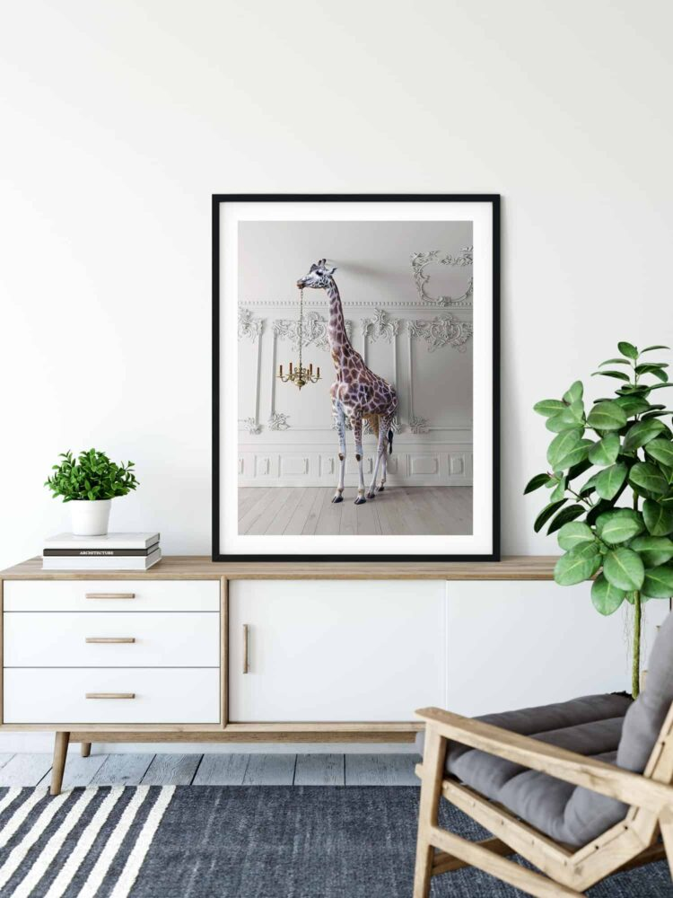 The Giraffe with a Chandelier poster print Noanahiko 009