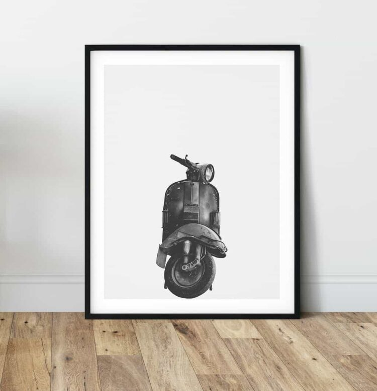 Vespa Classic motorbike poster print art bike home noanahiko