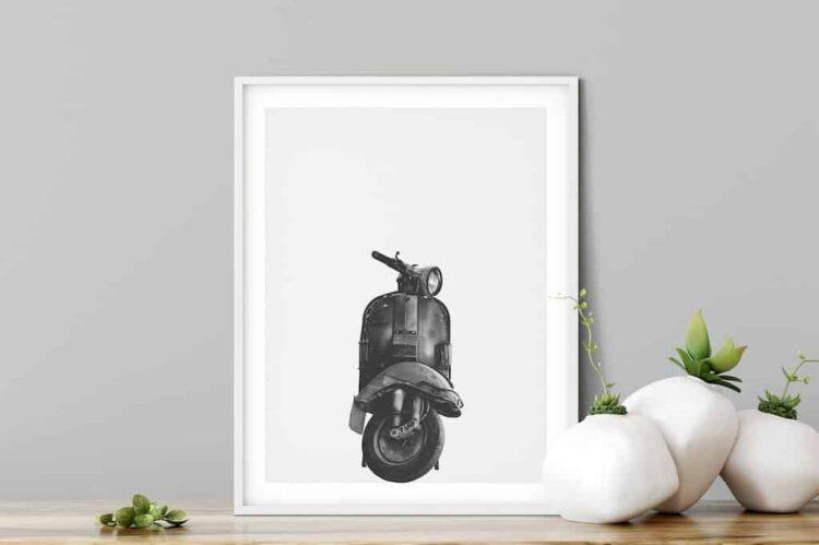 Vespa Classic motorbike poster wall art black and white office minimalistic noanahiko