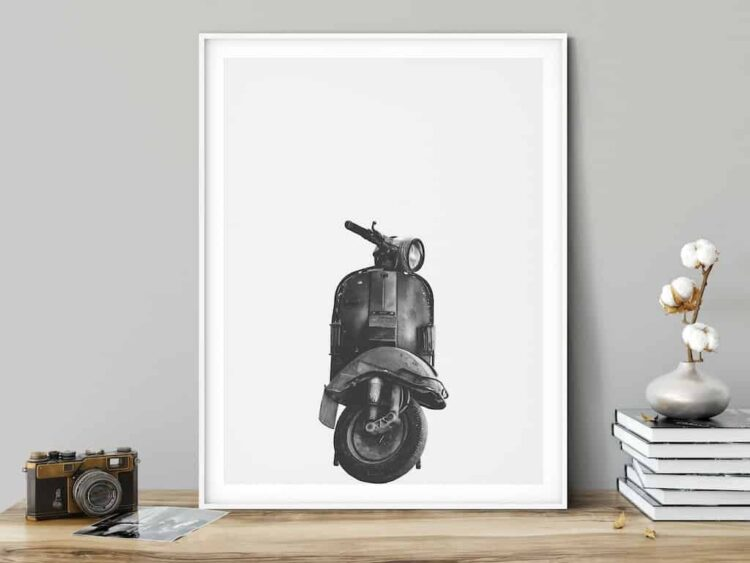 Vespa Classic motorbike poster wall art black white noanahiko