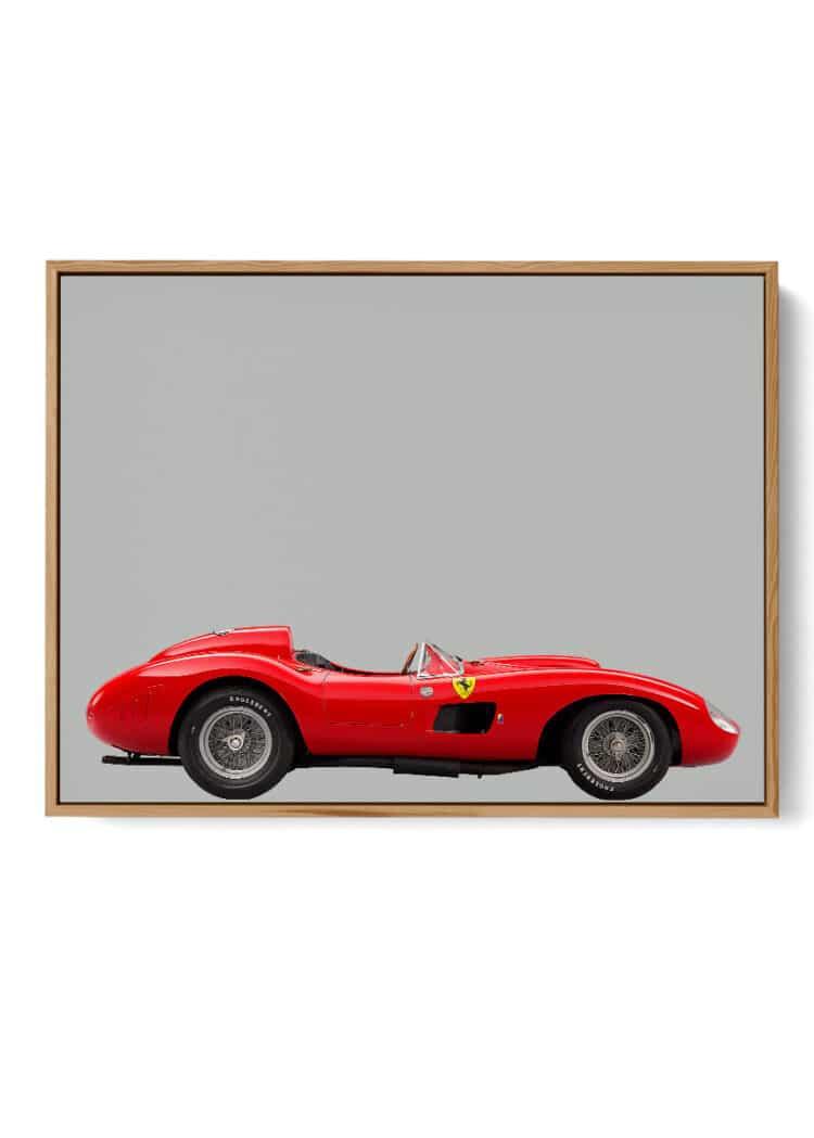 Ferrari 857 S Sports Car Print Wall Art Grey