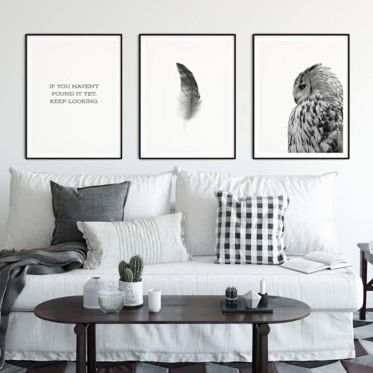 Set of 3 Prints Quote Owl Feather Noanahiko 0121