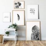 Set of 3 Prints Quote Owl Feather Noanahiko art 0121