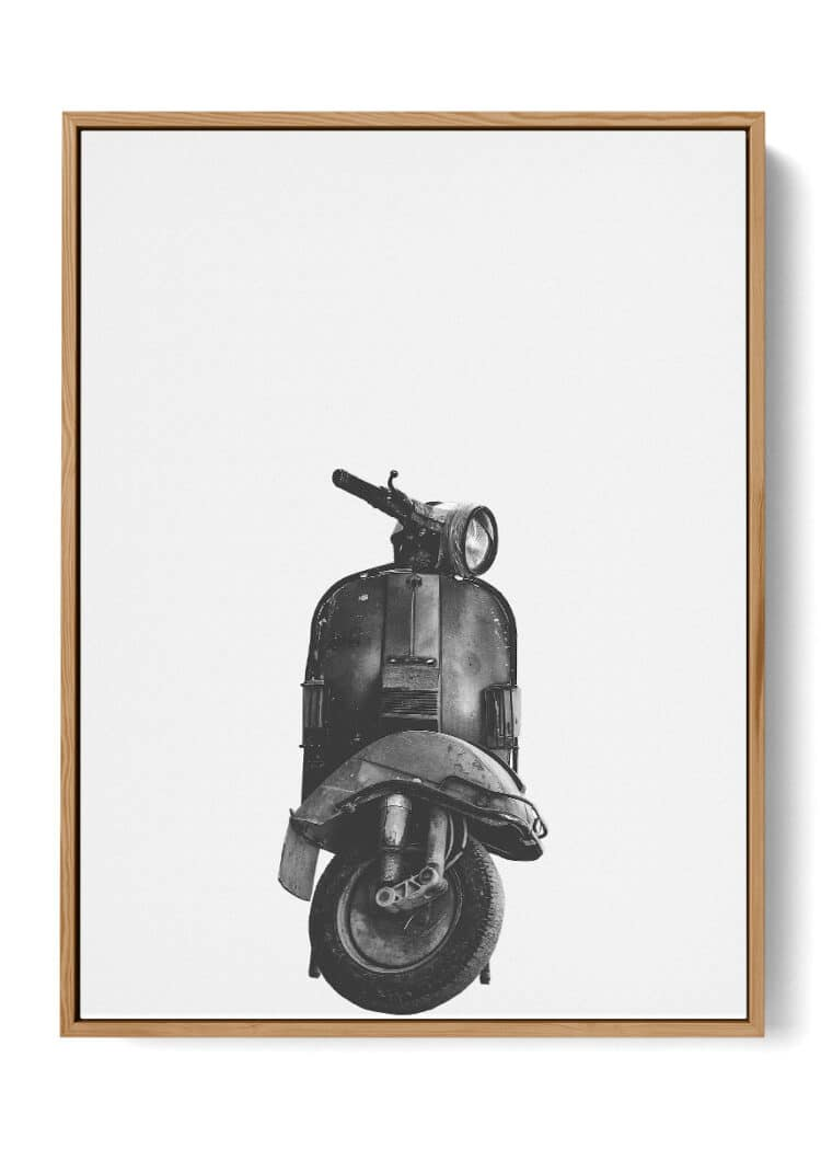 Vespa Motorcycle Art Print Poster White and Black