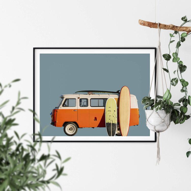 Vintage Retro Surf Van Noanahiko Photo Print 0183