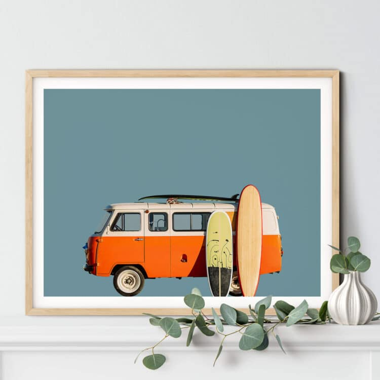 Vintage Retro Surf Van Noanahiko art 0183