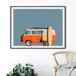 Vintage Retro Surf Van Poster Noanahiko 0183