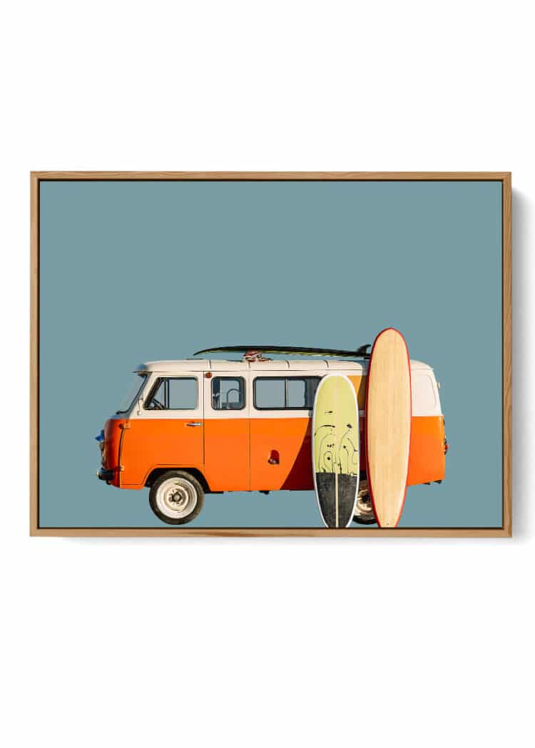 Vintage Retro Surf Van print wall art Noanahiko 0183